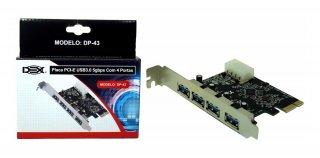 PLACA+PCI-E+EXPRESS+CARD+4+PORTAS+USB+3.0+DP-43+DEX
